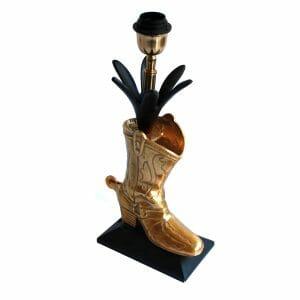 """Schwarz-Gold Tischlampe """"Stiefel"""" (41 cm)"""
