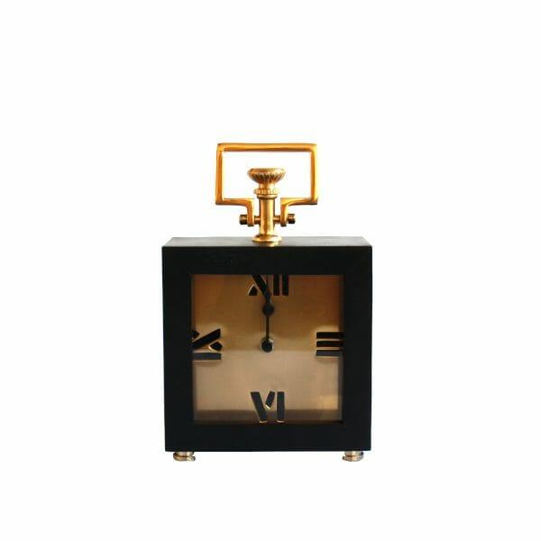 Schwarz-Gold Tischuhr für Dekoration (26 cm)