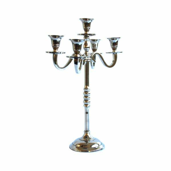 Kerzenhalter 5-armig Silber (38 cm)