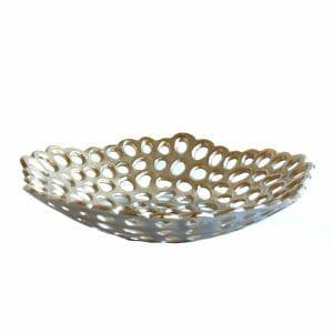 Schale Silber für Dekoration (Größe: 38 cm)