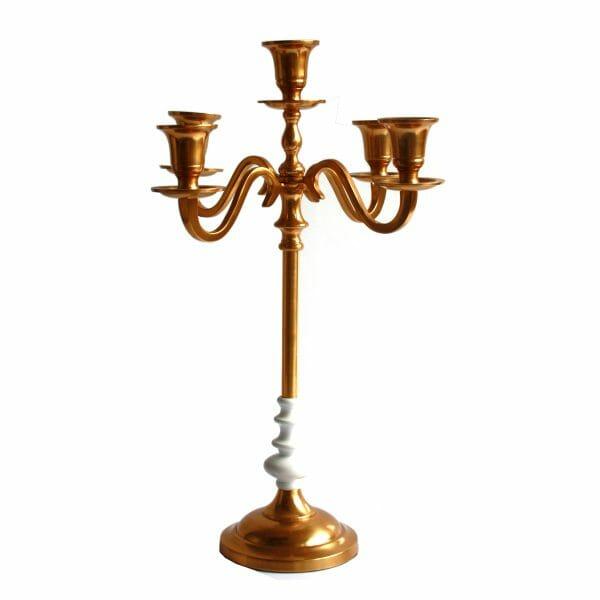 Kerzenhalter 5-armig Weiß-Gold (48 cm)