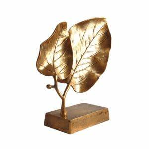 Deko-Blätter Statue Gold (Größe: 34 cm)