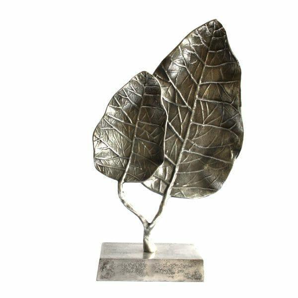 Deko-Blätter Statue Silber (Größe: 47 cm)