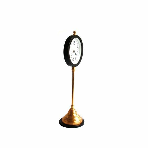 Edward & Florence Schwarz-Gold Tischuhr (56 cm)