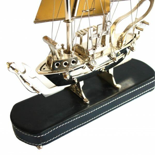 Vintage-Design Silber Segelboot für Dekoration (38,5 cm)