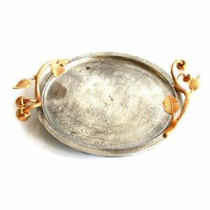 Vintage-Design Gold-Silber Schale für Dekoration (44 cm)