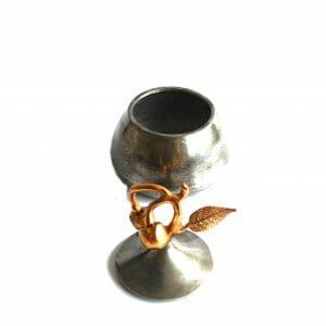 Vintage-Design 20 cm Silber-Gold Kessel
