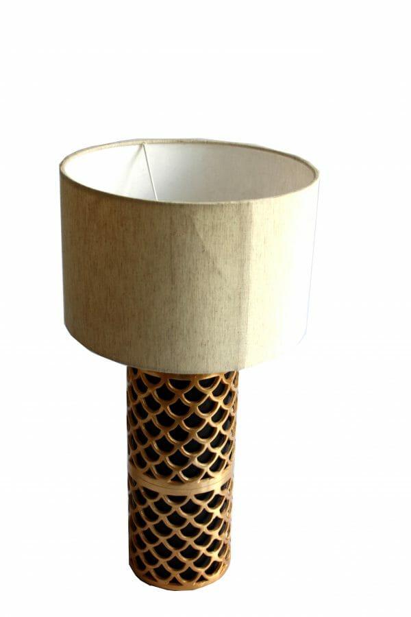 Vintage-Design Schwarz-Gold-Weiß Tischlampe (57 cm)