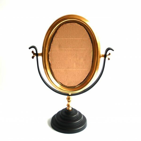 Vintage-Design Schwarz-Gold Tischspiegel